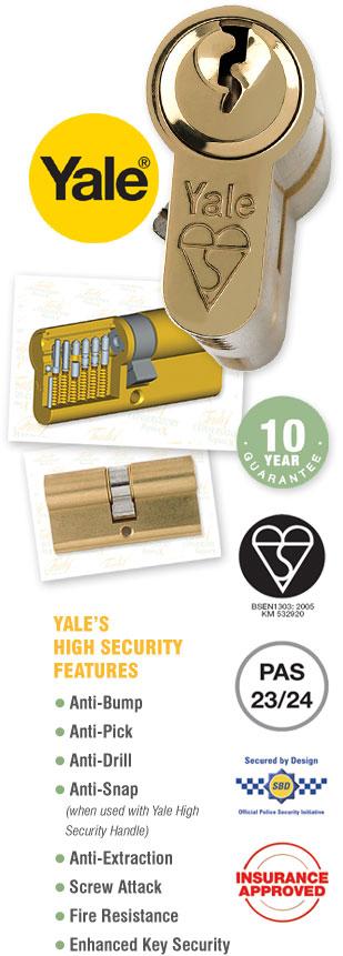 Yale Kitemarked Euro Profile Double Cylinder