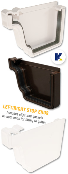 K2 C8042 Gutter Stop End Conservatory Ogee Upvc Left Or