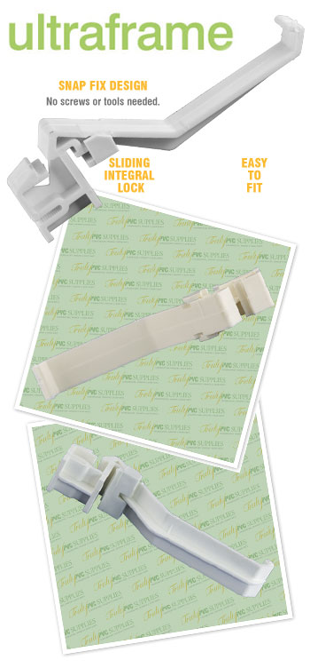 WHITE UPVC SPRUNG DOOR HANDLE LEVER/LEVER TROJAN SPARTA
