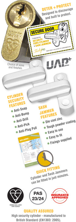Secure Door Pack includes Yale Platinum Anti-Snap Euro Cylinder + 2 x Sash Jammers + Self-Cling Window Sticker