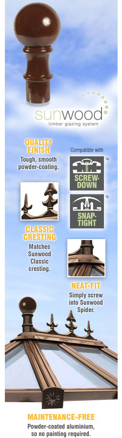 Sunwood Ball Finial Aluminium Powder-Coated Wood Timber Glazing System