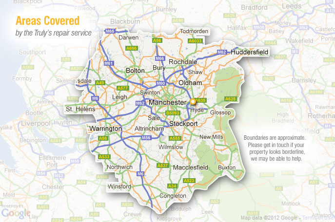 Map of areas covered by Trulys conservatory repairs from base in Ashton-under-Lyne, Greater Manchester, Lancashire