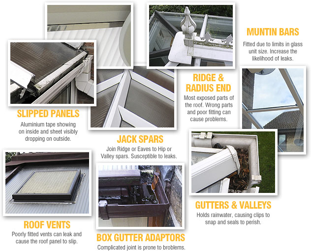 Conservatory Roof Leak Causes - Slipped Panels, Muntin Bars, Jack Spars, Ridge and Radius End, Box Gutters