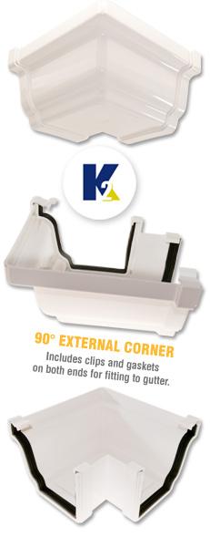 K2 C8040 Conservatory 90 176 Gutter External Corner Ogee