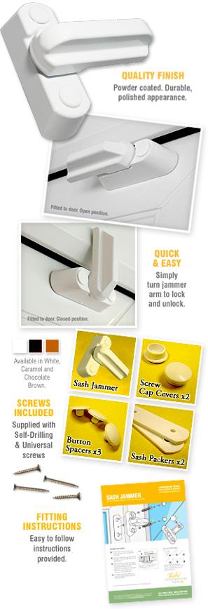 montaje tornillos 8pcs Sash Jammer PVC de UPVC Ventana cerradura de la puerta el brazo de alta seguridad