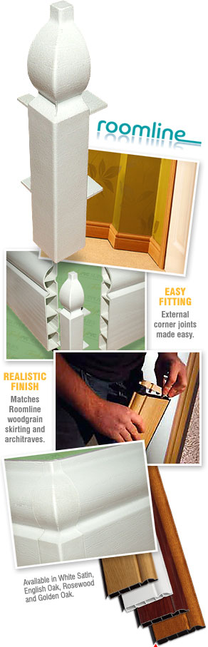 External Corner Joint for Roomline uPVC Plastic Skirtingboard