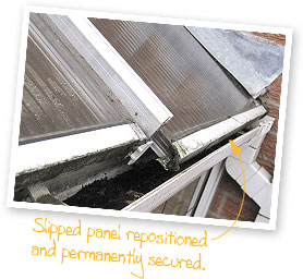 Slipped Roof Panels | Conservatory Repair Manchester