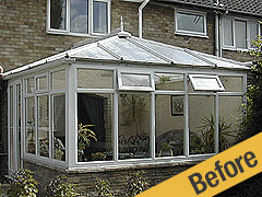 Before Slate Roof Conversion - rundown conservatory with leaks